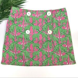 Lilly Pulitzer Skirt Hibiscus Pink Green Giraffe